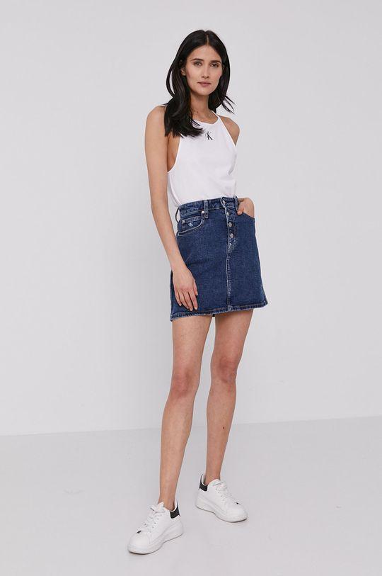 Calvin Klein Jeans - Rifľová sukňa tmavomodrá