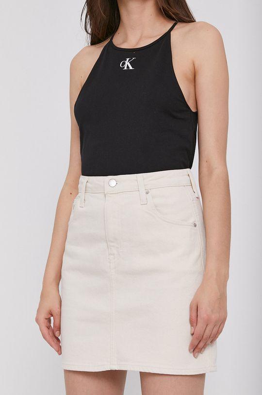 béžová Calvin Klein Jeans - Rifľová sukňa Dámsky