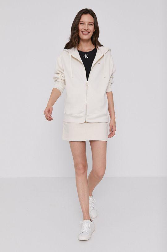 Calvin Klein Jeans - Rifľová sukňa béžová
