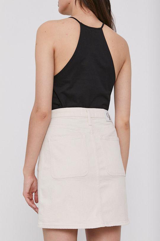 Calvin Klein Jeans - Rifľová sukňa  90% Bavlna, 2% Elastan, 8% Polyester