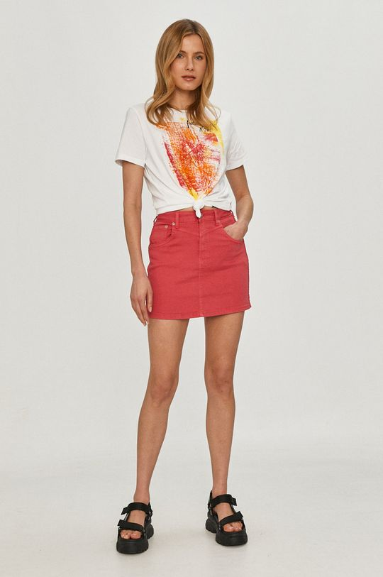Pepe Jeans - Spódnica jeansowa Rachel ostry różowy