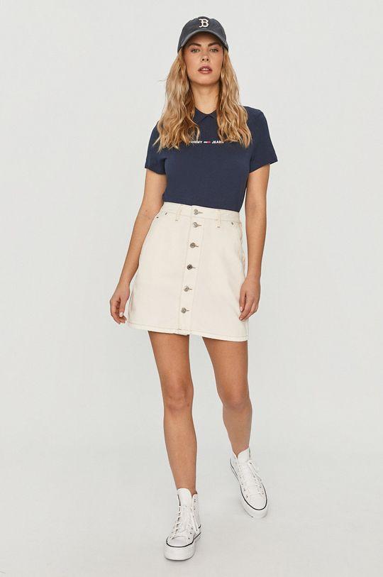 Tommy Jeans - Džínová sukně bílá