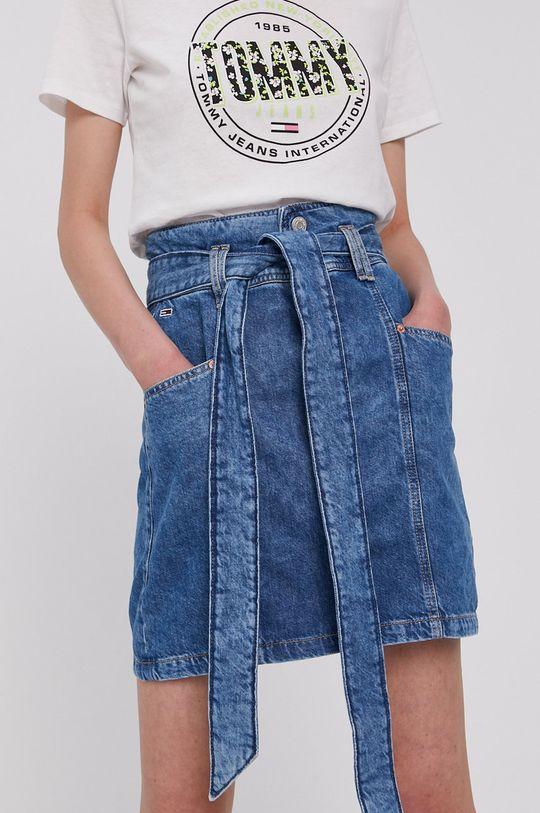 modrá Tommy Jeans - Rifľová sukňa Dámsky