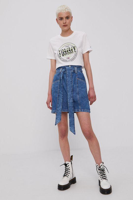 Tommy Jeans - Rifľová sukňa modrá