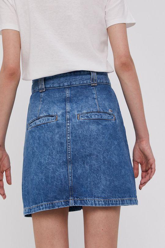 Tommy Jeans - Rifľová sukňa  100% Bavlna