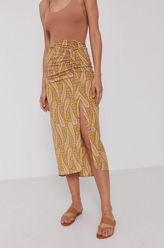 żółto - zielony Sisley - Spódnica Damski
