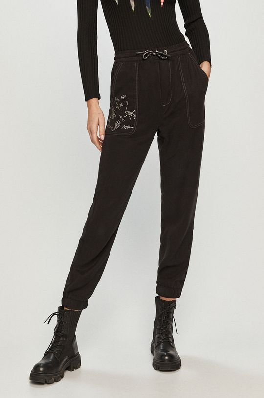 černá Desigual - Kalhoty Dámský