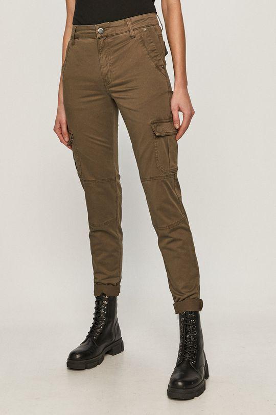 tlumená zelená Guess - Kalhoty Dámský