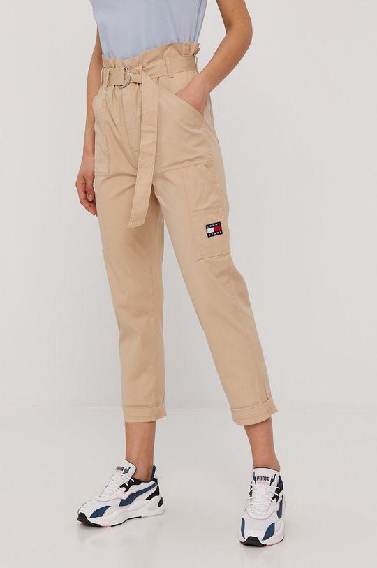 béžová Tommy Jeans - Kalhoty Dámský
