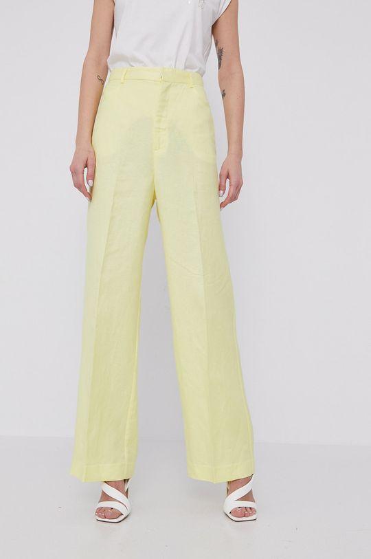 żółty Bardot - Spodnie Damski