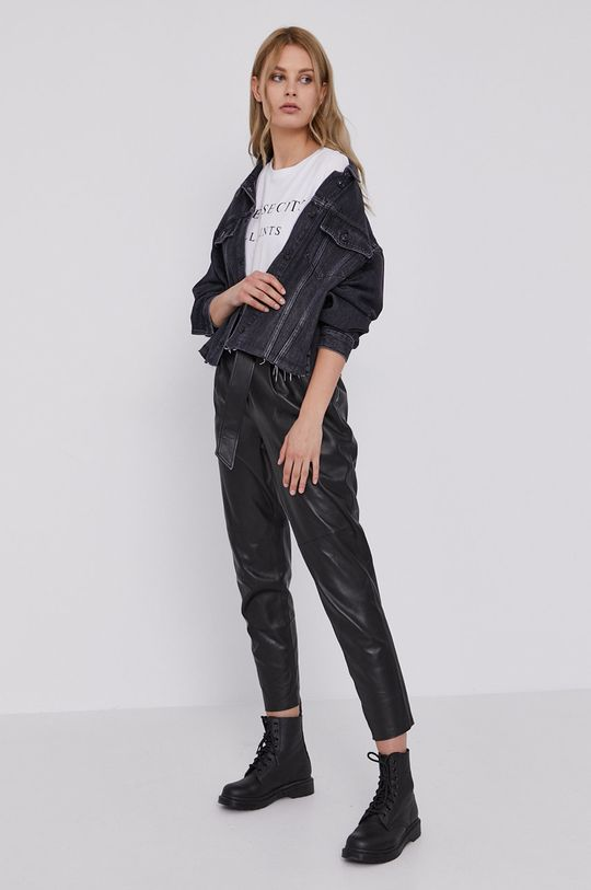 czarny AllSaints - Spodnie skórzane Damski