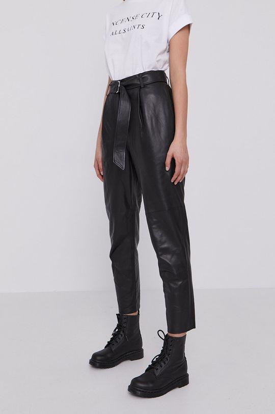 AllSaints - Spodnie skórzane czarny