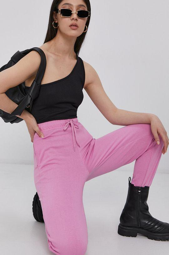ostry różowy Pieces - Spodnie Damski