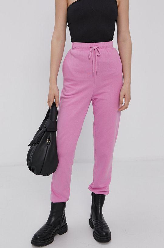 Pieces - Spodnie ostry różowy