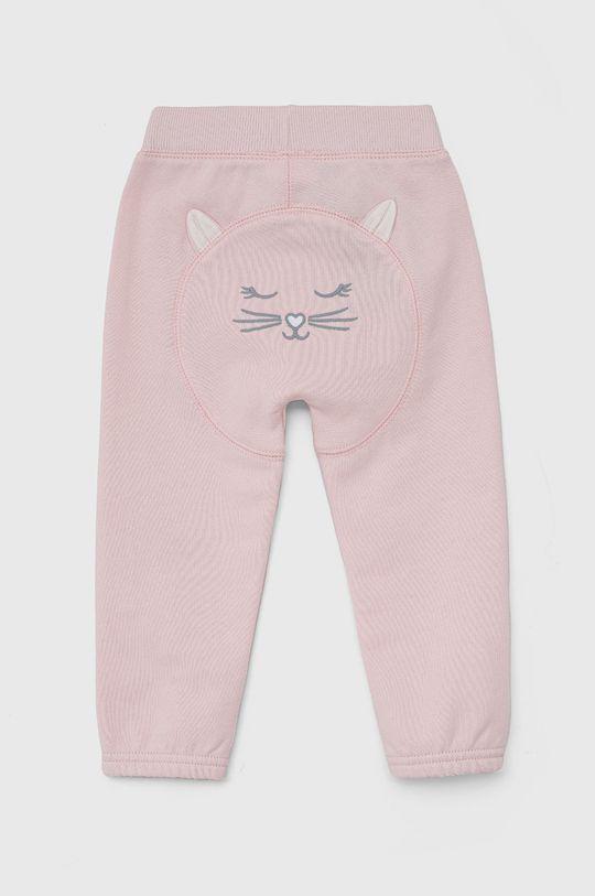 United Colors of Benetton - Dětské kalhoty pastelově růžová