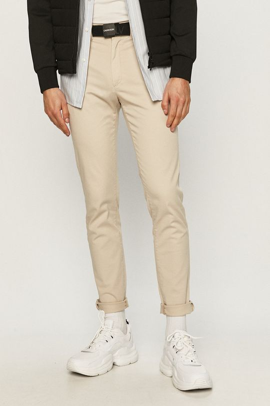 piaskowy Calvin Klein - Spodnie Męski