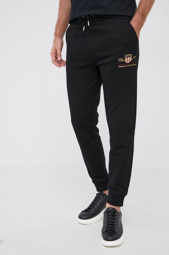 czarny Gant - Spodnie Męski
