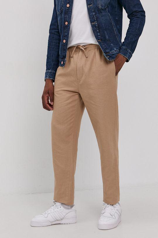 beżowy Superdry - Spodnie Męski