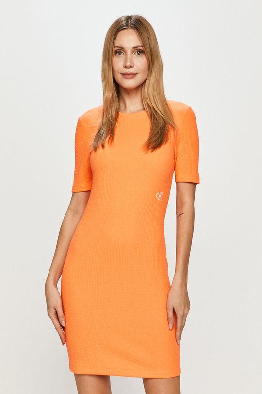 oranžová Calvin Klein Jeans - Šaty Dámský