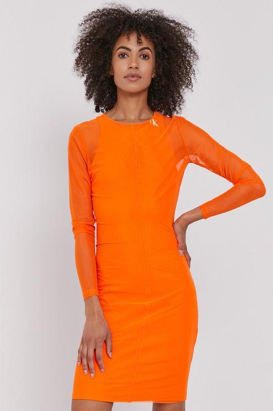 Calvin Klein Jeans - Sukienka pomarańczowy