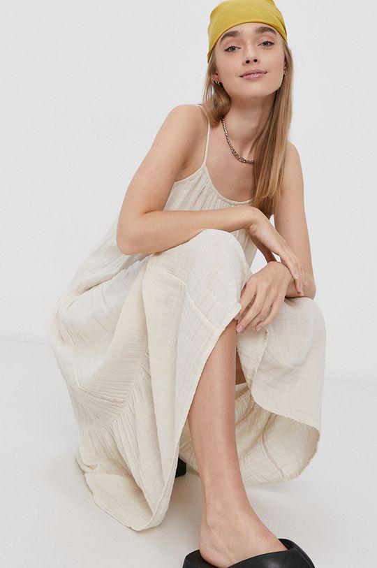 Vero Moda - Sukienka bawełniana kremowy