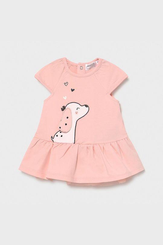 Mayoral Newborn - Sukienka dziecięca pastelowy różowy