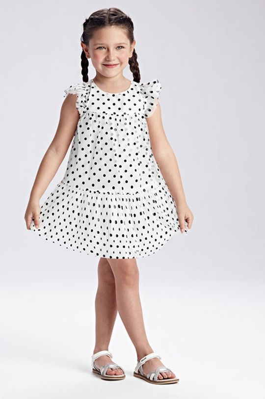 biały Mayoral - Sukienka dziecięca Dziewczęcy