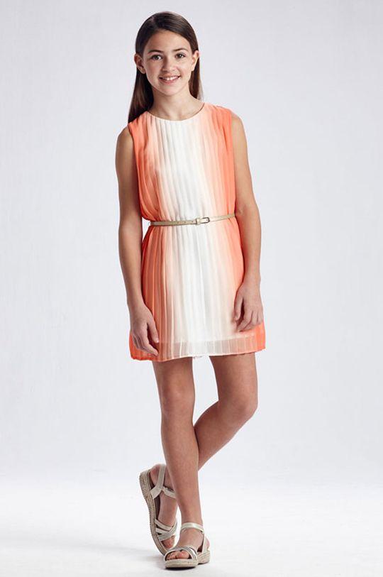 brzoskwiniowy Mayoral - Sukienka dziecięca Dziewczęcy