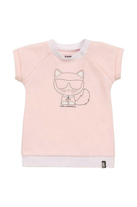 pastelowy różowy Karl Lagerfeld - Sukienka dziecięca Dziewczęcy