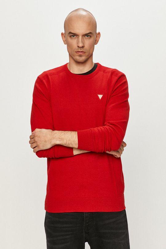 czerwony Guess - Sweter Męski