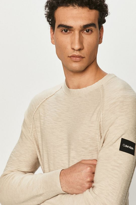 piaskowy Calvin Klein - Sweter Męski