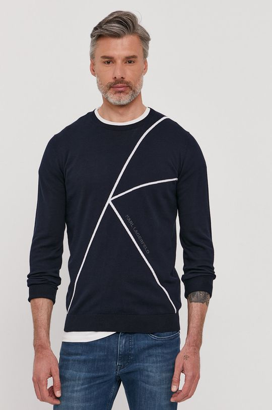 granatowy Karl Lagerfeld - Sweter Męski