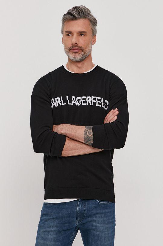 czarny Karl Lagerfeld - Sweter Męski