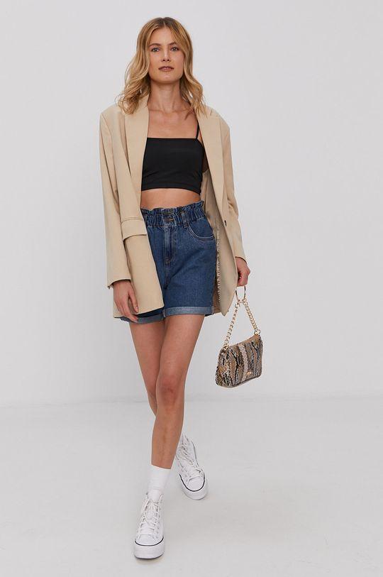 Vero Moda - Rifľové krátke nohavice tmavomodrá