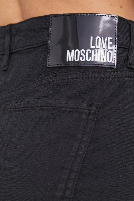 čierna Love Moschino - Rifľové krátke nohavice