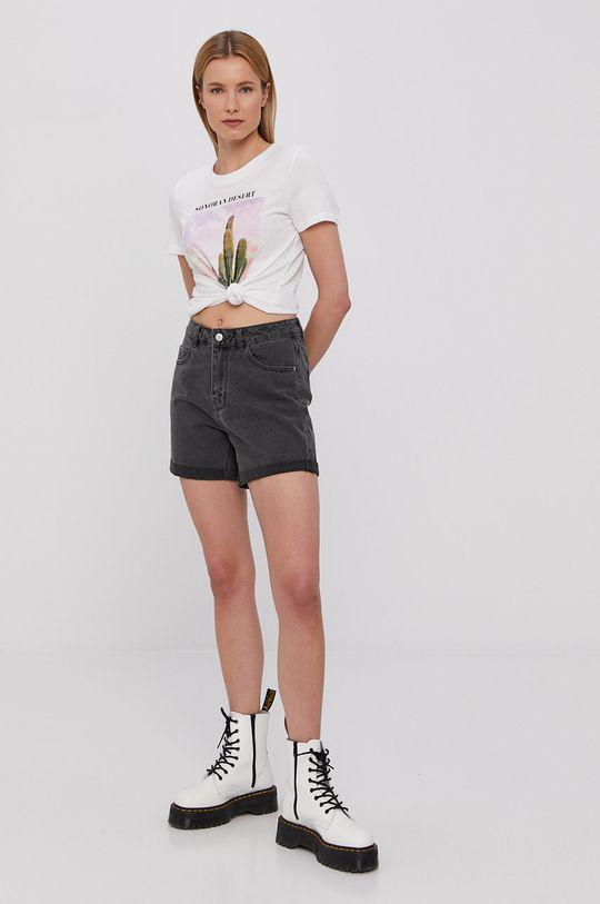 Vero Moda - Rifľové krátke nohavice sivá