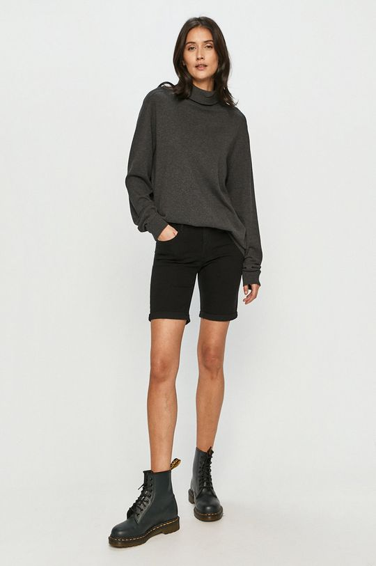 Vero Moda - Rifľové krátke nohavice čierna
