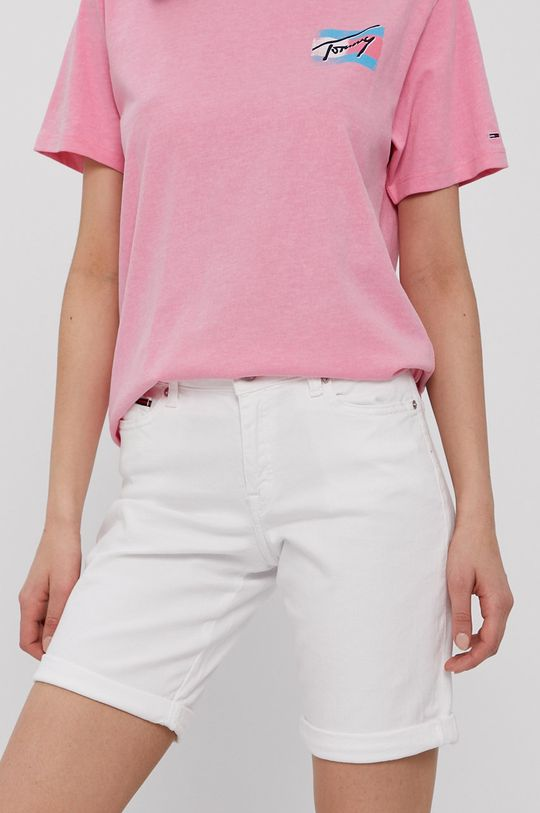 biały Tommy Jeans - Szorty jeansowe Damski