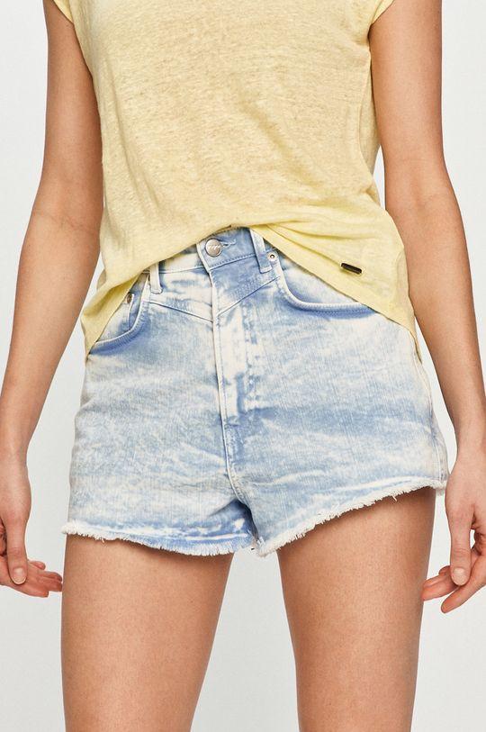 modrá Pepe Jeans - Rifľové krátke nohavice Rachel Dámsky