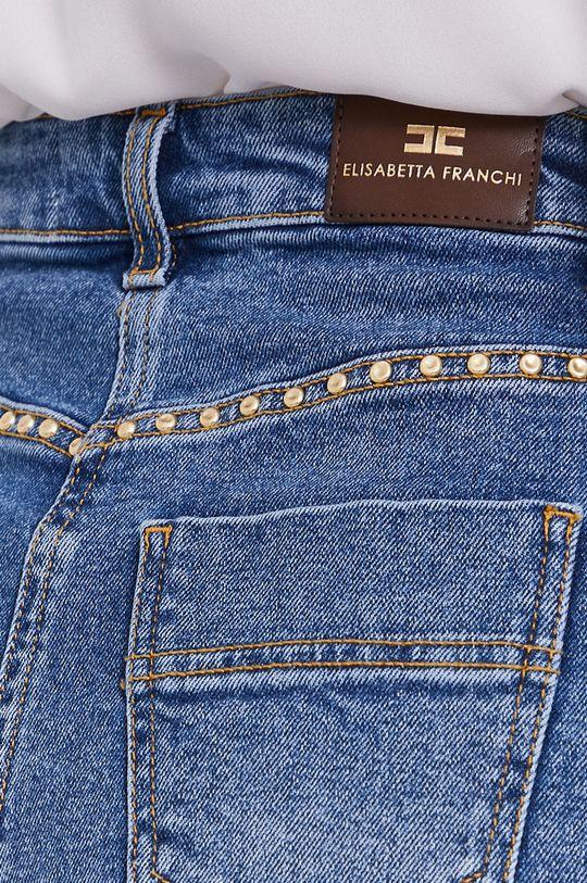 modrá Elisabetta Franchi - Rifľové krátke nohavice
