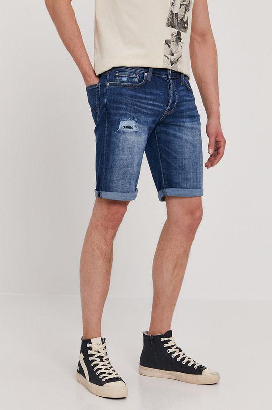 tmavomodrá Guess - Rifľové krátke nohavice Pánsky