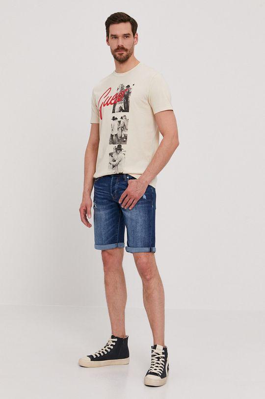 Guess - Rifľové krátke nohavice tmavomodrá