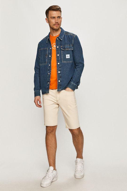 Calvin Klein Jeans - Szorty jeansowe kremowy