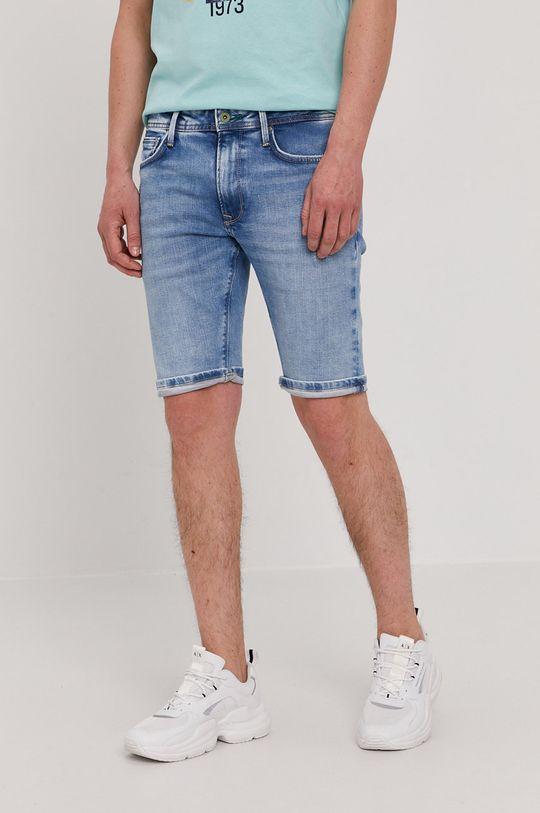 modrá Pepe Jeans - Rifľové krátke nohavice Stanley Pánsky