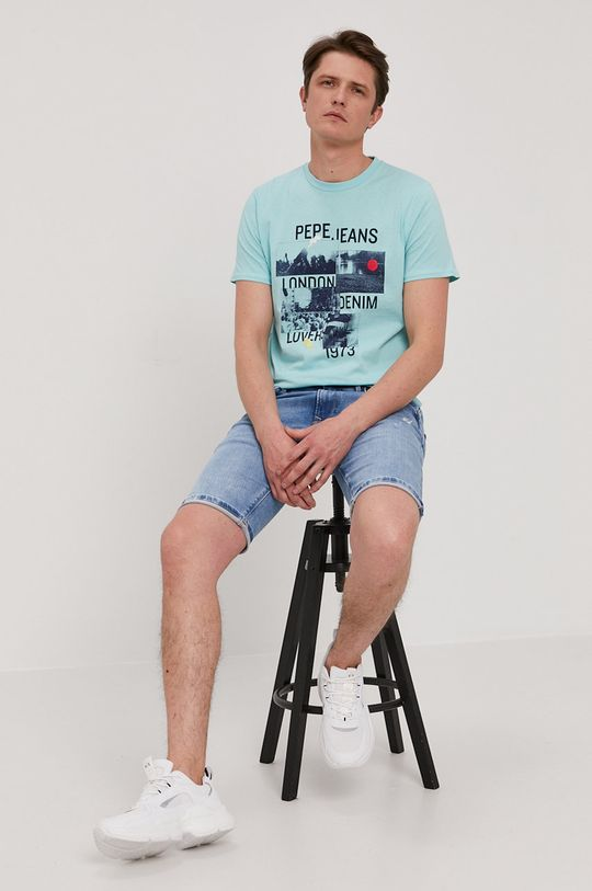 Pepe Jeans - Rifľové krátke nohavice Stanley modrá