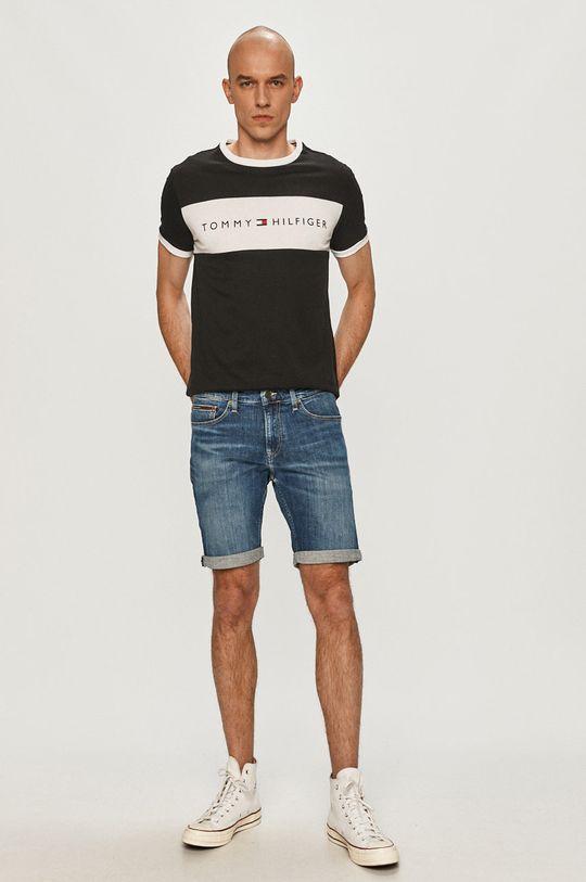 Tommy Jeans - Rifľové krátke nohavice modrá