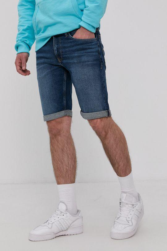 tmavomodrá Tommy Jeans - Rifľové krátke nohavice Pánsky