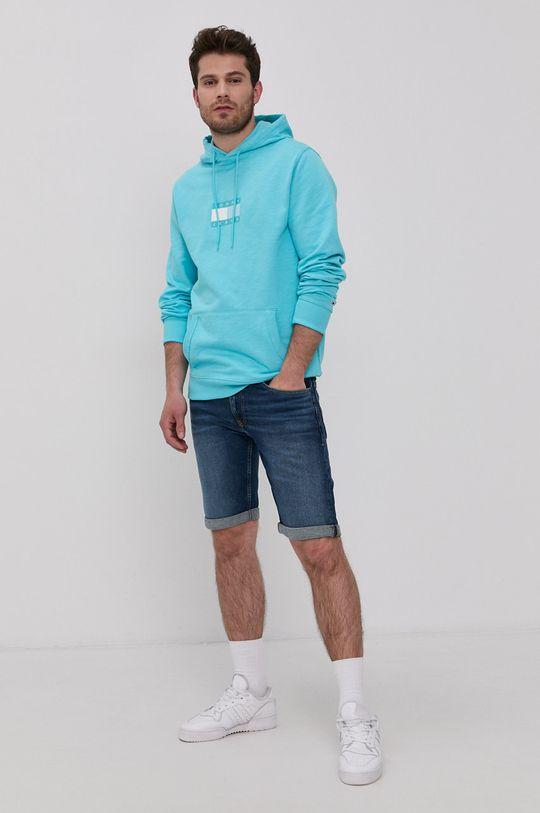 Tommy Jeans - Rifľové krátke nohavice tmavomodrá