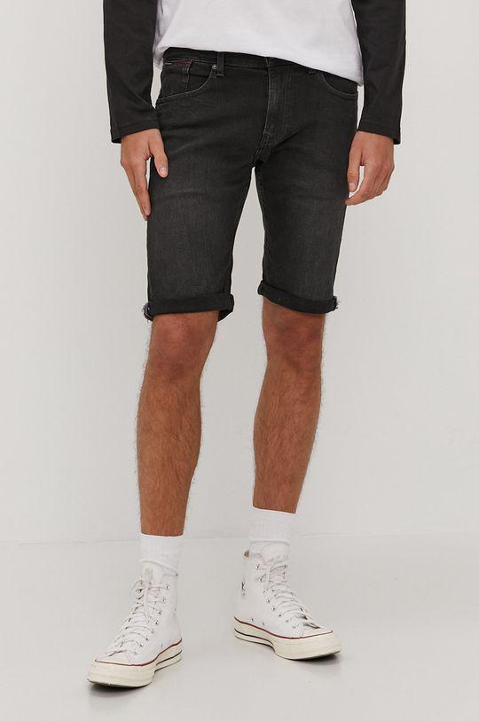 černá Tommy Jeans - Džínové šortky Pánský