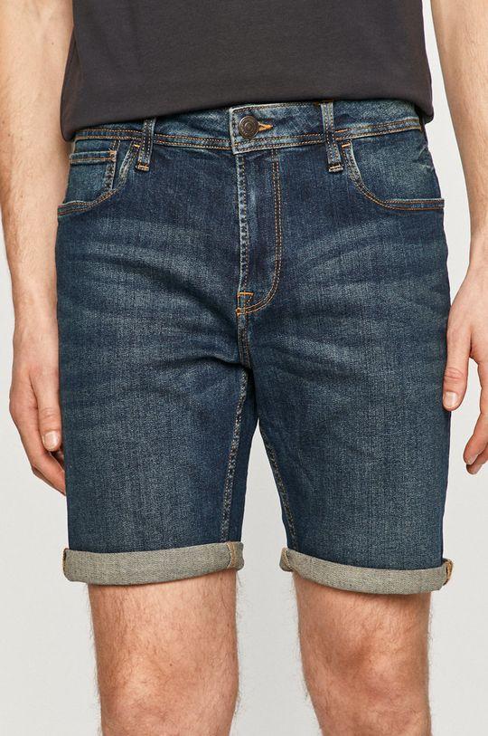 tmavomodrá Produkt by Jack & Jones - Rifľové krátke nohavice Pánsky